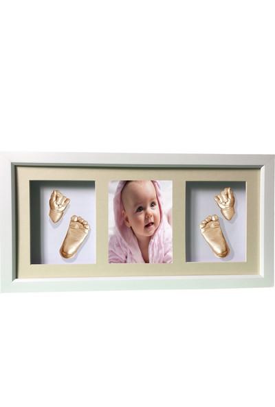 Küçük İzler Beyaz Çerçeveli Resimli 3 Bölmeli - Aljinat ile 3 Boyutlu Bebek 2 El - 2 Ayak İzi Heykeli Kalıp Seti