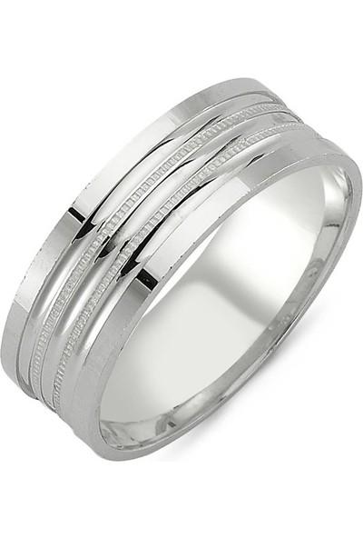 Takı Dükkanı Sade Çizgili Gümüş Alyans Taşsız Söz Nişan Yüzüğü WR71-1