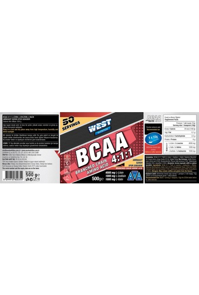 West Nutrition Whey Protein Tozu 72 Şase 4 Mix + Bcaa 500 gr Nar Aromalı
