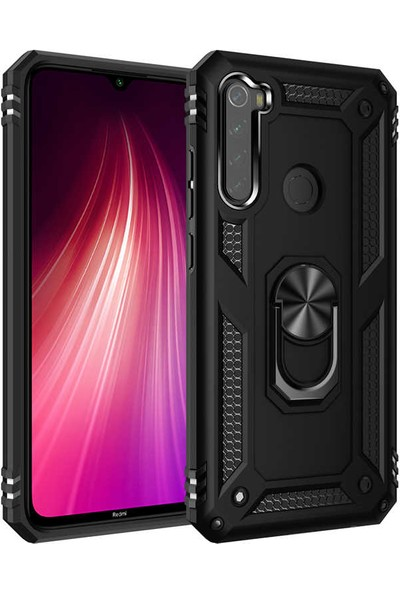 Zore Xiaomi Redmi Note 8 Kılıf Yüzüklü Standlı Zırh Tank Kamera Korumalı Vega Siyah