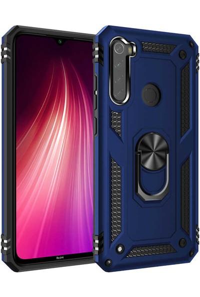 Zore Xiaomi Redmi Note 8 Kılıf Yüzüklü Standlı Zırh Tank Kamera Korumalı Vega Mavi