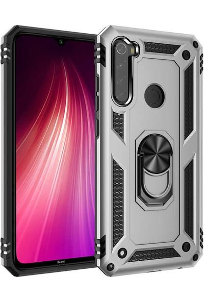 Zore Xiaomi Redmi Note 8 Kılıf Yüzüklü Standlı Zırh Tank Kamera Korumalı Vega Gri