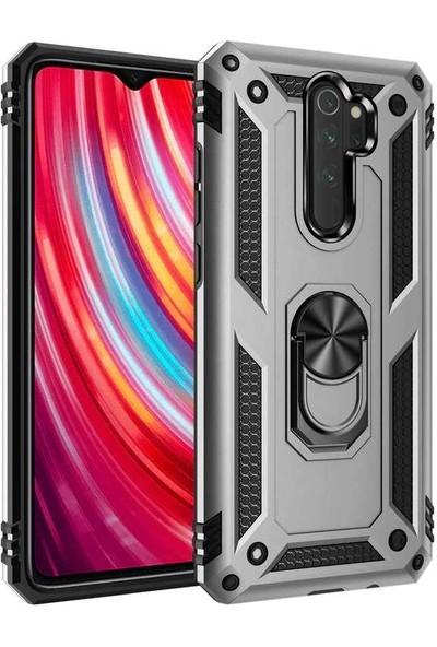 Zore Xiaomi Redmi Note 8 Pro Kılıf Yüzüklü Standlı Zırh Tank Kamera Korumalı Vega Gri