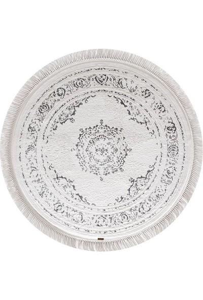 Halı Home Halı Hünkar Koleksiyonu 7875 Beyaz Daire Saçaklı Halı 116 x 116 Daire cm