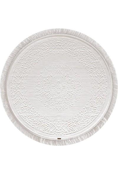 Halı Home Halı Hünkar Koleksiyonu 7904 Beyaz Daire Saçaklı Halı 156 x 156 Daire cm
