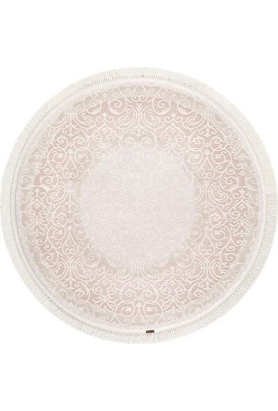 Halı Home Halı Hünkar Koleksiyonu 7913 Beyaz Daire Saçaklı Halı 156 x 156 Daire cm