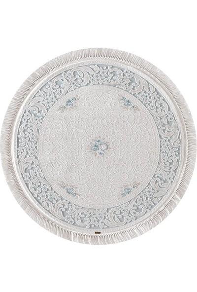 Halı Home Halı Hünkar Koleksiyonu 7951 Beyaz Daire Saçaklı Halı 156 x 156 Daire cm