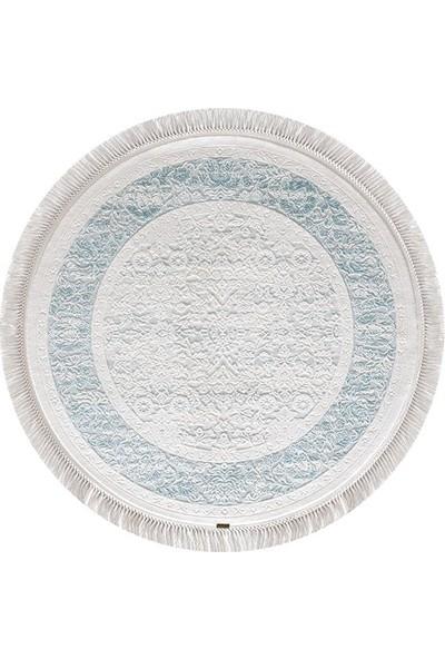 Halı Home Halı Hünkar Koleksiyonu 7957 Beyaz Daire Saçaklı Halı 116 x 116 Daire cm