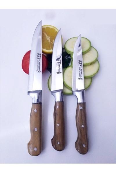 Lazoğlu Mutfak Ekmek Sebze Meyve Bıçak Seti 3'lü Lazoğlu Sürmene Bilezikli