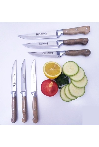 Lazoğlu Mutfak Ekmek Sebze Meyve Bıçak Seti 6'lı Lazoğlu Sürmene Bilezikli
