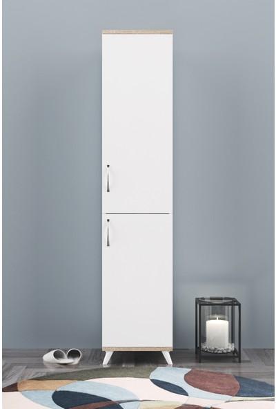 AE-2025 Cemre Çok Amaçlı Banyo Dolabı & Mutfak Dolabı Beyaz 2 Kapaklı 5 Raflı