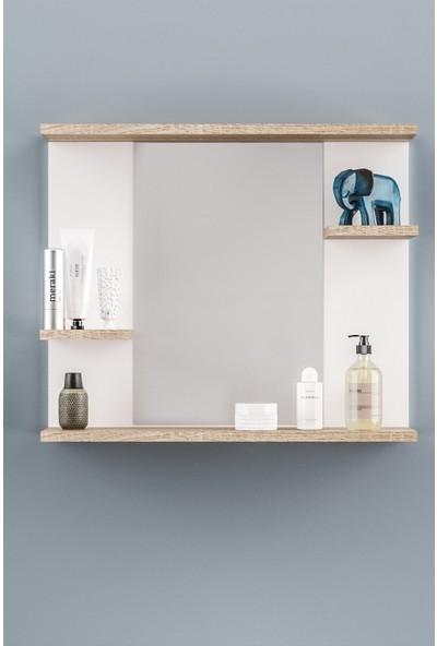 AE-2026 Safir Banyo Dolabı Lavabo Üstü Aynalı 4 Raflı Beyaz