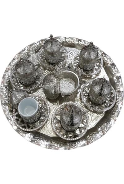 Bahar Çelik Osmanlı Motifli 6 Kişilik 21 Parça Gümüş Renk Hediyelik Kahve Fincan Takımı