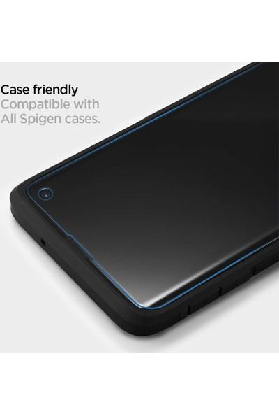 Spigen Samsung Galaxy S10 Kavisli Cam Ekran Koruyucu Platinum Perfect Fit Parmak İzi Uyumlu (UV Işık Dahil) - 605GL27615