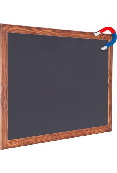 Chalky 45x110 cm Manyetik Kara Tahta Ahşap Çerçeveli - Tebeşir Yazı Tahtası - Siyah