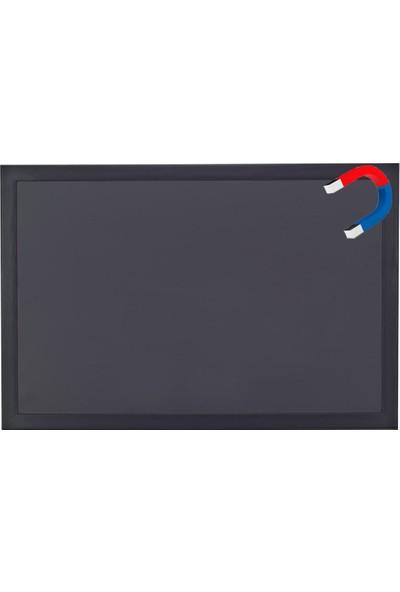 Chalky 65x100 cm Manyetik Kara Tahta Siyah Çerçeveli - Tebeşir Yazı Tahtası - Siyah