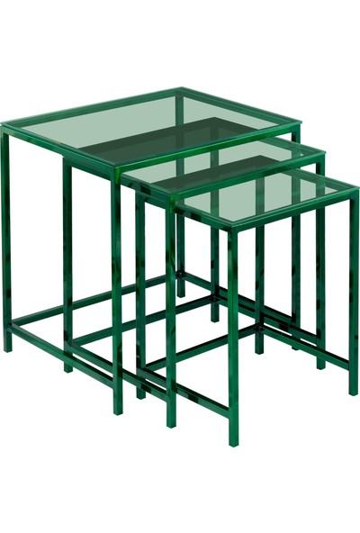 Ku Cam Diamond Green Yeşil Cam Zigon Orta Yan 3'lü Sehpa
