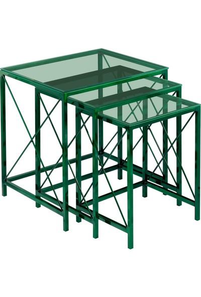 Ku Cam Diamond x Green Yeşil Cam Zigon Orta Yan 3'lü Sehpa