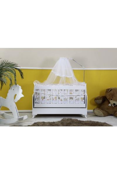 Diverso Home Sallanır Anne Yanı Ahşap Bebek Beşiği 60 x 120 cm