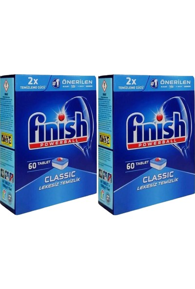 Finish Classic Bulaşık Makinesi Deterjanı 60 Tablet 2li Paket 120 Adet