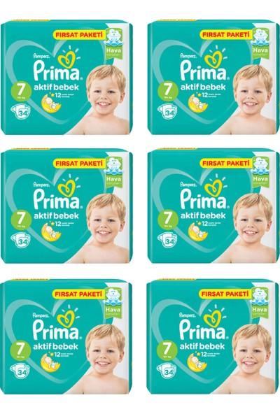 Prima Bebek Bezi Aktif Bebek 7 Beden 34 Adet Xx Large Fırsat Paketi 6lı Paket 204 Adet
