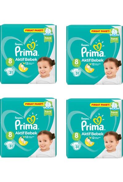 Prima Bebek Bezi Aktif Bebek 8 Beden 31 Adet Fırsat Paketi 4lü Paket 124 Adet