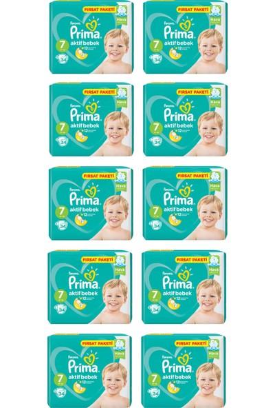 Prima Bebek Bezi Aktif Bebek 7 Beden 34 Adet Xx Large Fırsat Paketi 10LU Paket 340 Adet