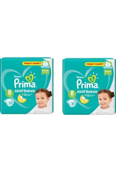 Prima Bebek Bezi Aktif Bebek 8 Beden 31 Adet Fırsat Paketi 2li Paket 62 Adet