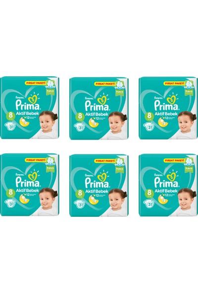 Prima Bebek Bezi Aktif Bebek 8 Beden 31 Adet Fırsat Paketi 6lı Paket 186 Adet