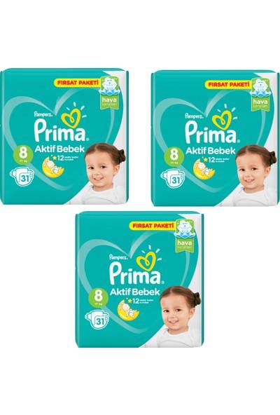 Prima Bebek Bezi Aktif Bebek 8 Beden 31 Adet Fırsat Paketi 3lü Paket 93 Adet