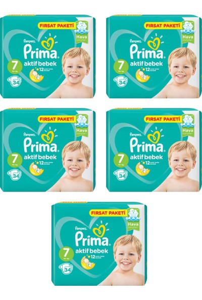 Prima Bebek Bezi Aktif Bebek 7 Beden 34 Adet Xx Large Fırsat Paketi 5li Paket 170 Adet