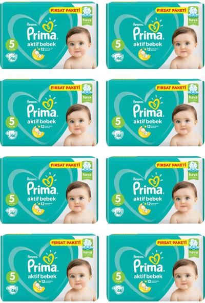 Prima Bebek Bezi Aktif Bebek 5 Beden 46 Adet Junior Fırsat Paketi 8li Paket 368 Adet