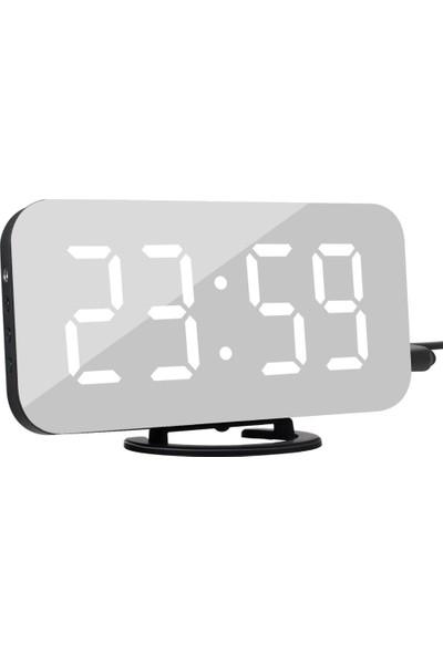 Dodobees LED Dijital Saat 2 USB Şarjlı Alarmlı Otomatik Işık Ayarlı Dekoratif Ayna Yüzeyli