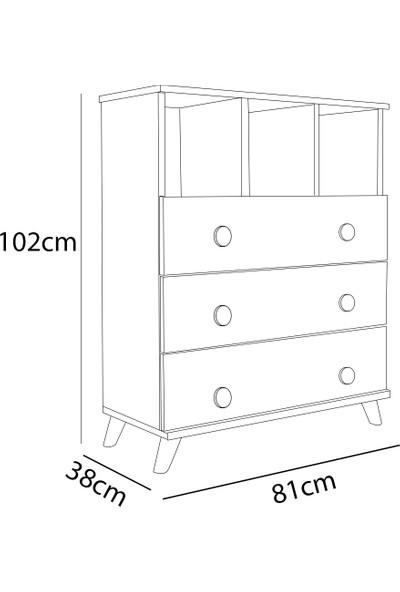 Aeka AE-1046 Babil Beyaz Şifonyer 3 Çekmeceli