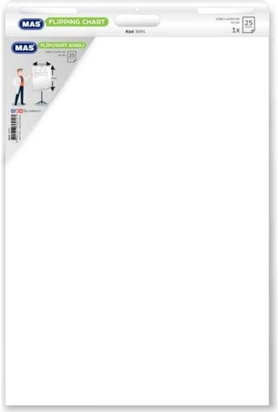 MAS Flipchart Kağıdı 64 x 90 Askılı 25 Yaprak 3691