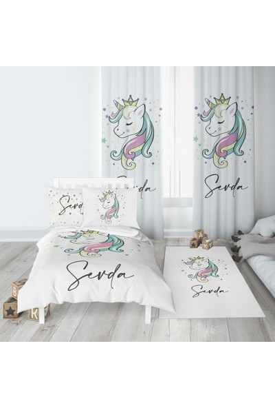 Homamia İsme Özel Fon Perde Unicorn 70 x 260 cm