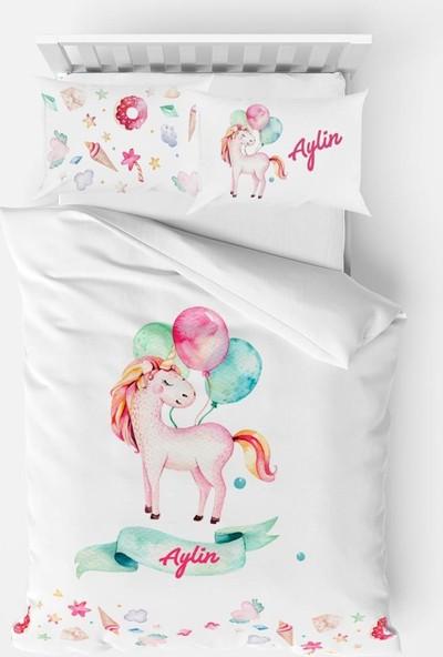 Homamia Kişiye Özel Tek Kişilik Nevresim Takımı Balonlu Unicorn