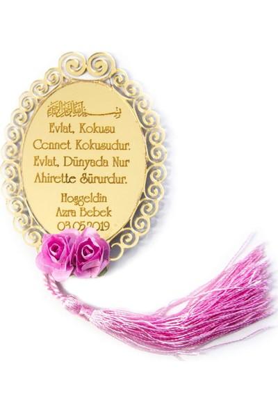 Meşgalem Isme Özel Hoşgeldin Bebek Magnet Gold Pleksi - Dualı ve Tarihli - 25 Adet