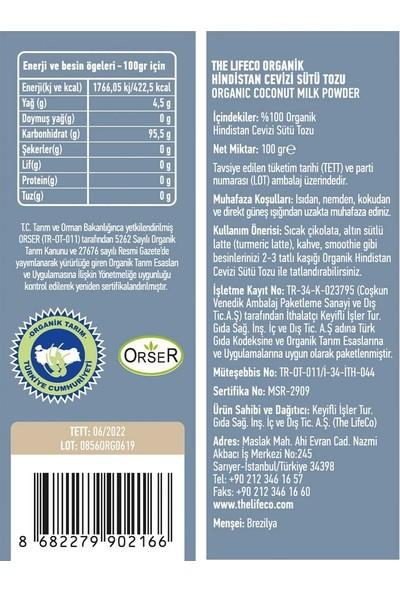 The LifeCo Organik Hindistan Cevizi Sütü Tozu 100 gr