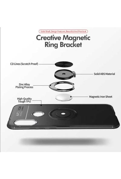 Herdem Samsung Galaxy A7 2018 Kılıf Yüzüklü Mıknatıslı Silikon Siyah