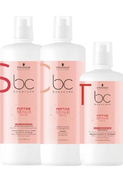 Bonacure Peptide Acil Kurtarma Derin Besleme Micellar Şampuan 1000ML+Krem 1000ML+Deep Kür Maske 750ML