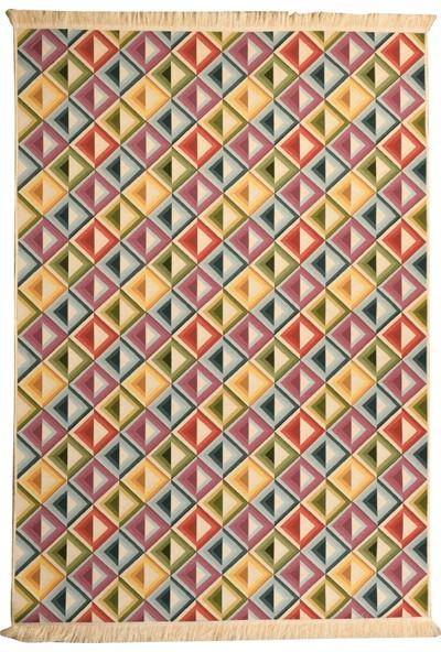 Elegant Fabric Alaçatı Desen Özel Tasarım Pamuklu Jakarlı Dokuma Kilim Halı