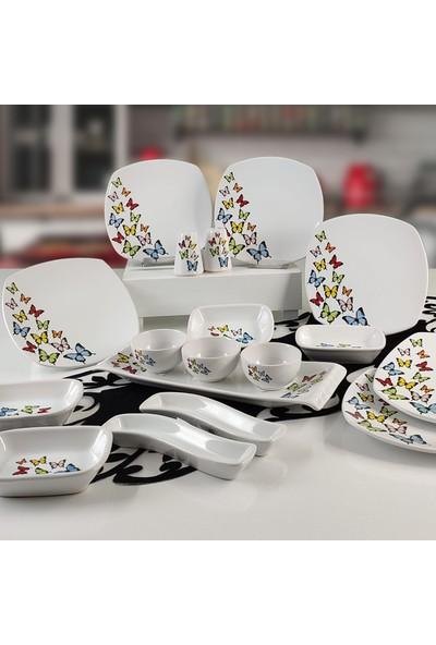 Keramika Kelebek 18 Parça 6 Kişilik Kahvaltı Takımı