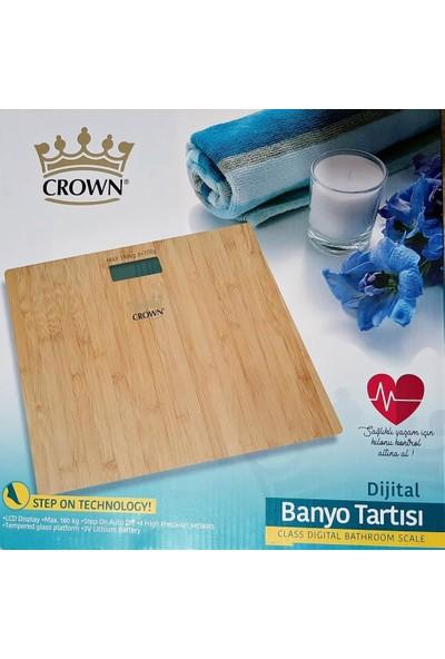 Crown Baskül 7021 Cam Banyo Tartısı - Bambu Desenli