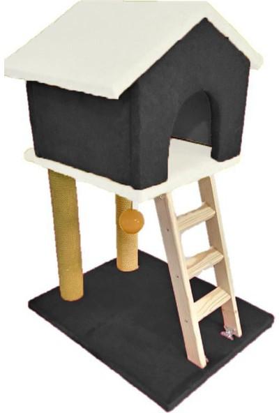 Mila Süngerli Merdivenli Kedi Tırmalama Evi Siyah - Beyaz