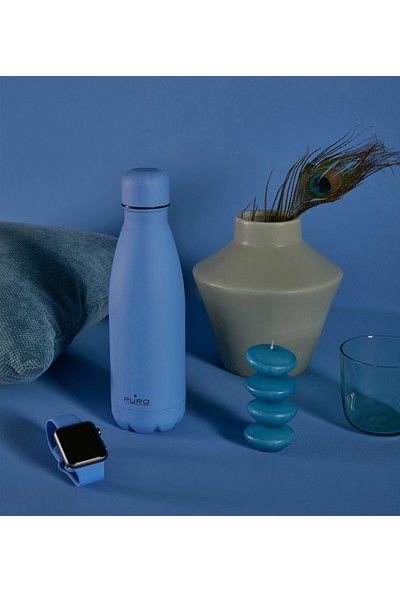 Puro Icon Soft Touch Paslanmaz Çelik Termos Gök Mavisi 500 ml