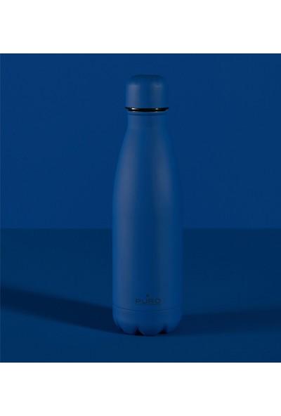 Puro Icon Soft Touch Paslanmaz Çelik Termos Koyu Mavi 500 ml