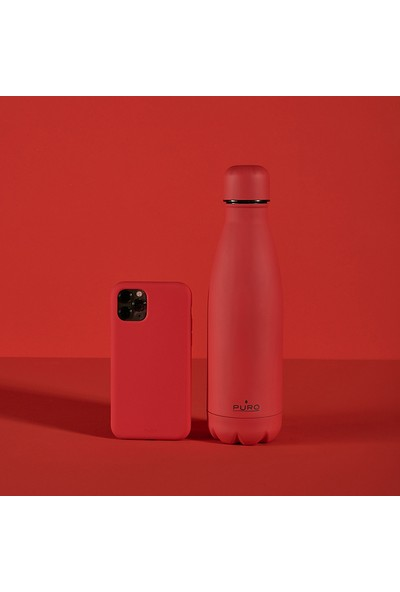 Puro Icon Soft Touch Paslanmaz Çelik Termos Kırmızı 500 ml