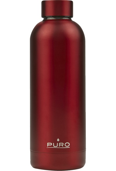 Puro Hot&Cold Paslanmaz Çelik Termos Mat Metalik Kırmızı 500 ml