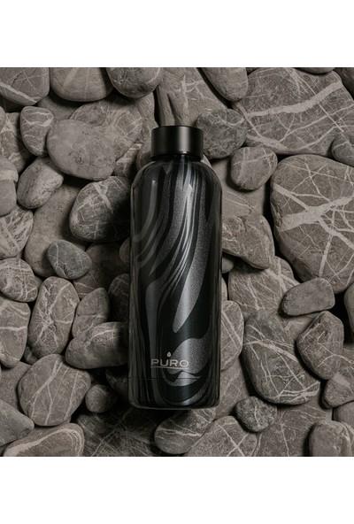 Puro Hot&Cold Paslanmaz Çelik Termos Optik Mat Siyah Akışkan Desenli 500 ml